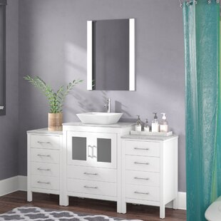 Stanardsville 64 Single Bathroom Vanity Set with White Marble Top and Mirror ByBrayden Studio
