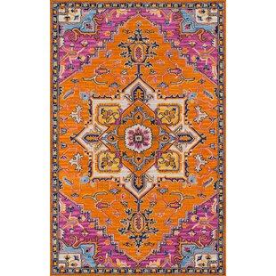 Lancaster Hand-Tufted Wool Orange Area Rug byWorld Menagerie
