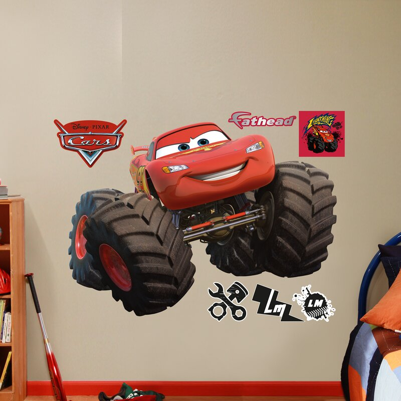 Fathead RealBig Disney Cars Monster Trucks Lightning McQueen Wall - Lightning mcqueen custom vinyl decals for car