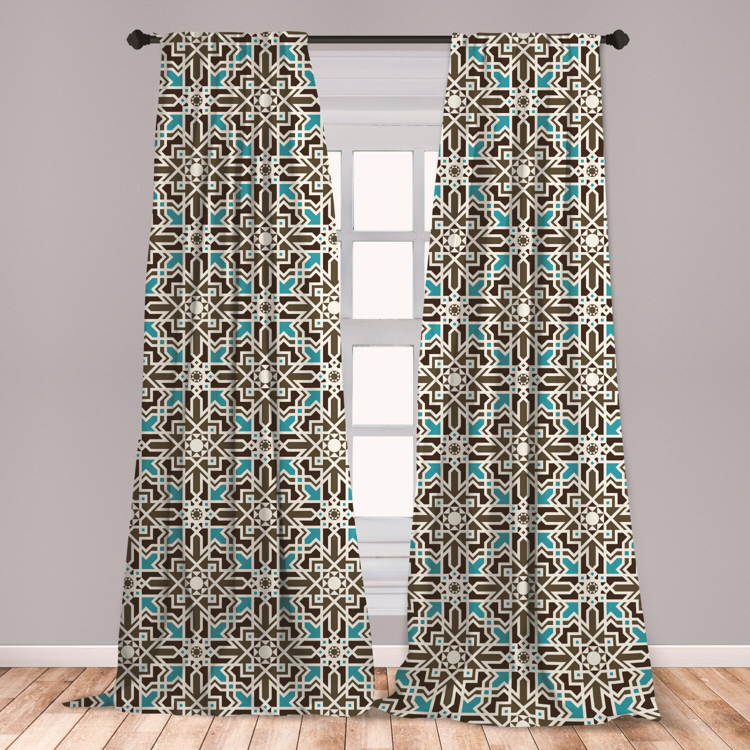 East Urban Home Ambesonne Brown And Blue Curtains, Middle Eastern
