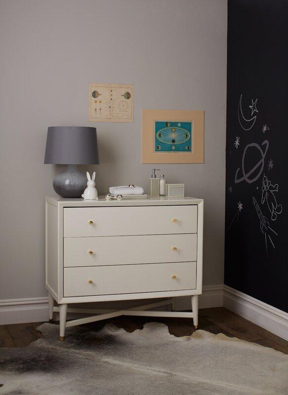Mid Century 3 Drawer French White Dresser