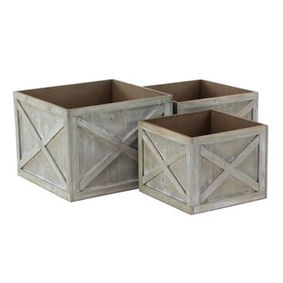 Cole & Grey Farmhouse Faded Square 3-Piece Planter Box Set