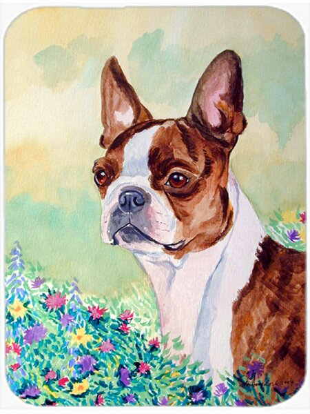 East Urban Home Boston Terrier And Flower Glass Cutting Board Wayfair