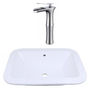 Find for Ceramic Rectangular Dual Mount Bathroom Sink with Faucet and Overflow ByAmerican Imaginations