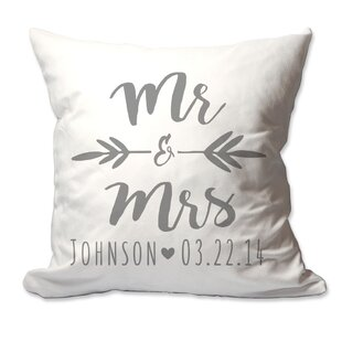 Personalized Brush Script Mr & Mrs Throw Pillow