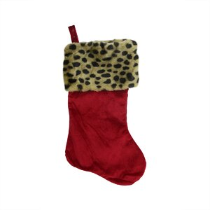 Diva Safari Velveteen Leopard Cuffed Christmas Stocking
