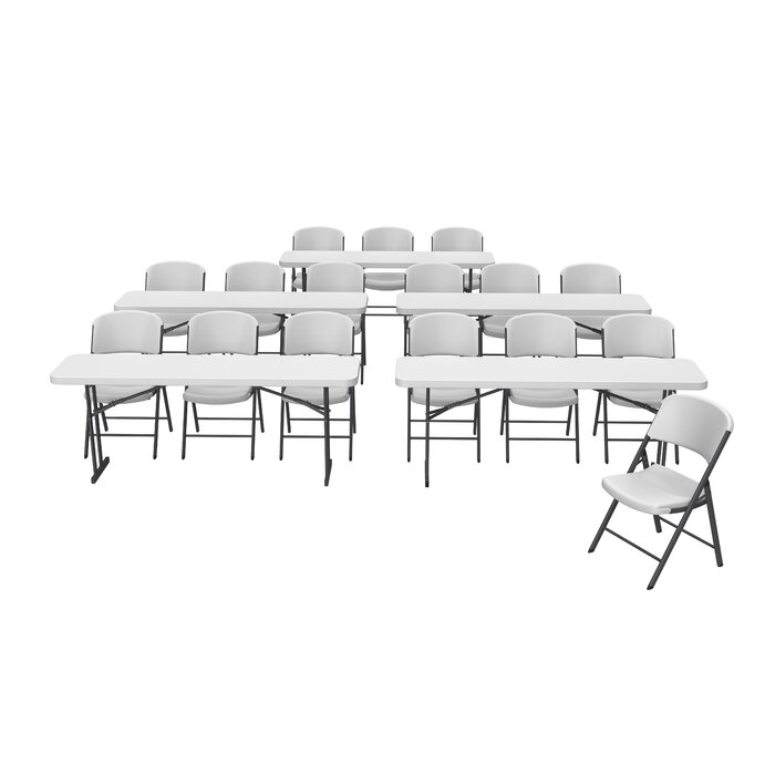 21 Piece Commercial Seminar 96 Rectangular Folding Table Set With 16 Chairs