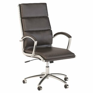 Bush Business Furniture Series C High Back Leather Executive Office Chair in Brown with Chrome