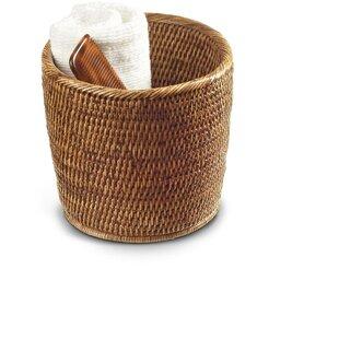 Mistana Efren Round Small Countertop Vanity Rattan Open Waste Basket