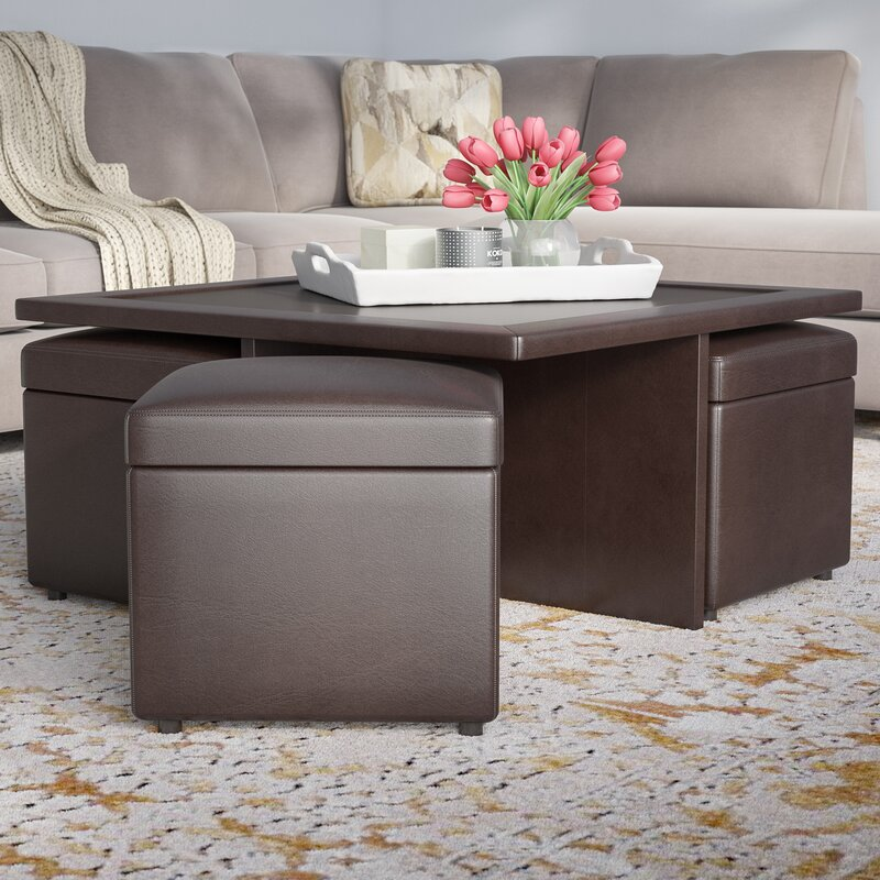 Schooner Coffee Table With Nested Stools