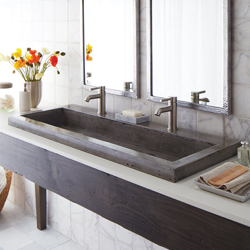 "Bathroom Sinks Trough Style native trails stone 48"" trough bathroom sink & reviews 