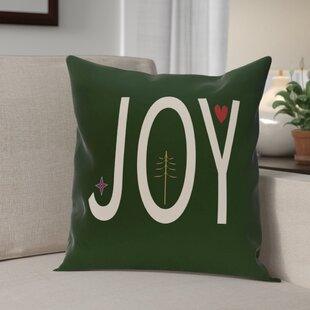 Joy Ed Season Holiday Word Print Throw Pillow