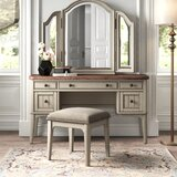 Rhapsody Vanity Set with Stool and Mirror by Kelly Clarkson Home