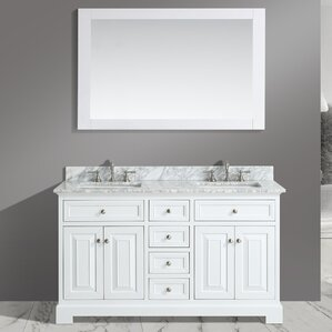 White Bathroom Sink Cabinets 60 inch bathroom vanities you'll love | wayfair