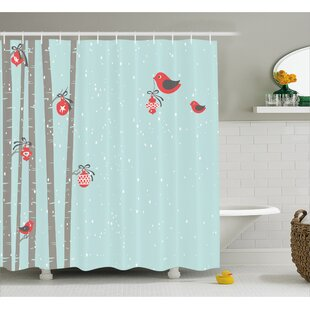 Christmas Cute Red Bird Winter Shower Curtain + Hooks