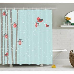 Christmas Cute Red Bird Winter Shower Curtain ByThe Holiday Aisle