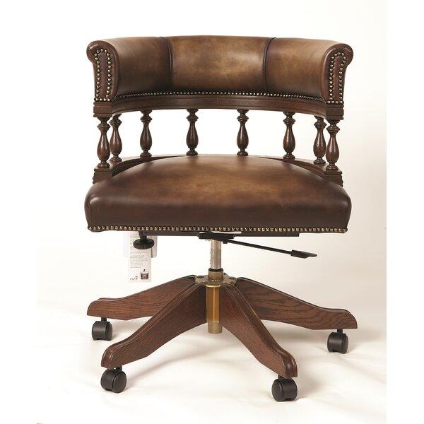 Rosalind Wheeler Alanis Mid Back Leather Bankers Chair Wayfair Co Uk