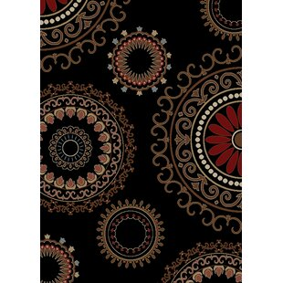 Best Review Calliope Kaleidoscope Ebony Black Area Rug ByRed Barrel Studio