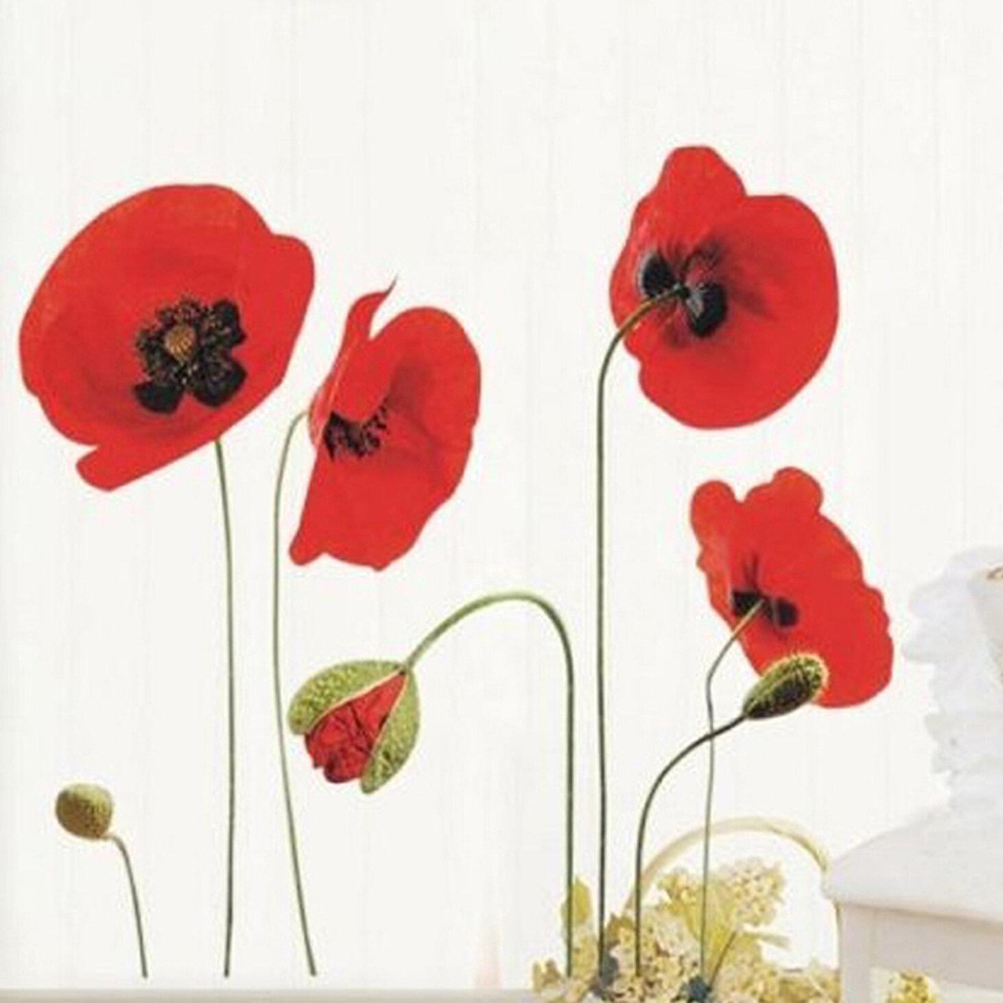 Walplus Poppy Flowers Wall Decal Reviews Wayfair