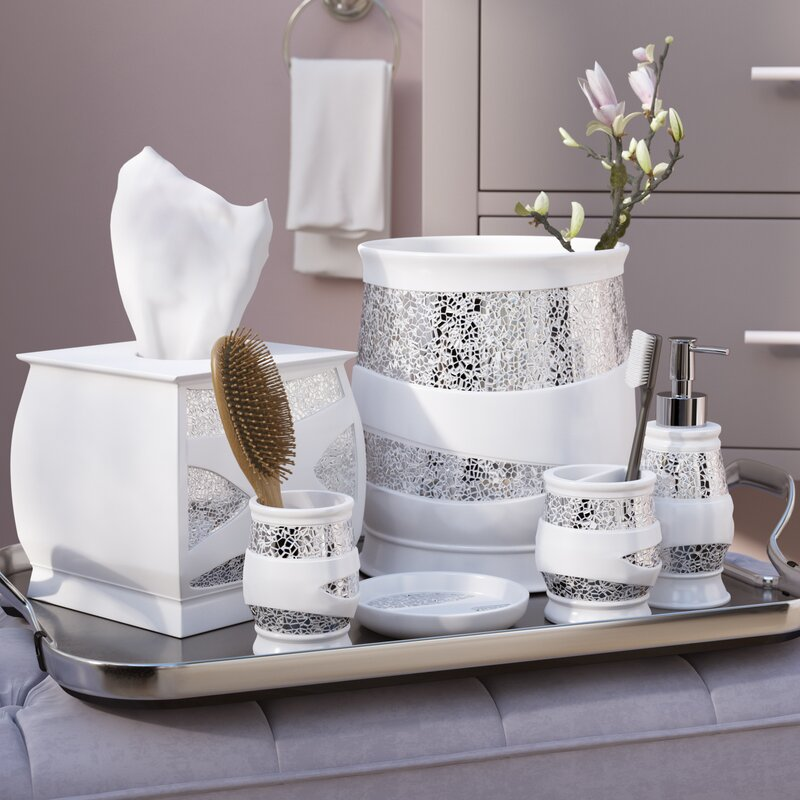 Beau Rivet 6 Piece White/Silver Bathroom Accessory Set
