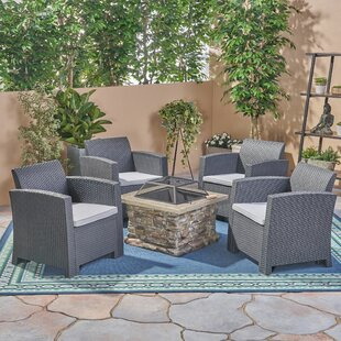 Elihu Outdoor 5 Piece Rattan Conversation Set with Cushions