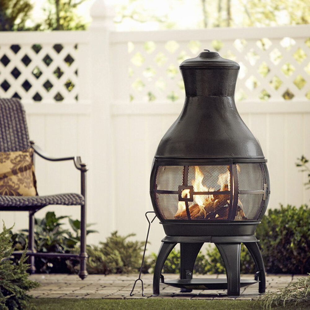 Arlmont Co Kramer Cast Iron Wood Burning Chiminea Reviews Wayfair