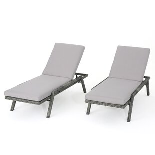 Thebes Outdoor Wicker Chaise Lounge With Water Resistant Cushion (Set Of 2)