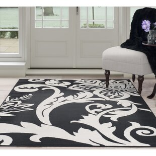 Big Save Floral Black/White Area Rug By Plymouth Home