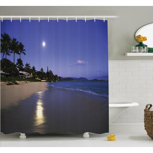 Tropical Moonlight Hawaii Sea Shower Curtain Set by Ambesonne Great Reviews