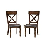 Whisler Upholstered Cross Back Side Chair in Brown (Set of 2) by Millwood Pines