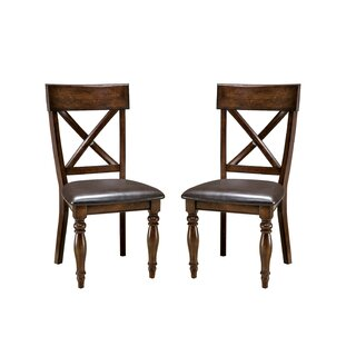Whisler Upholstered Cross Back Side Chair in Brown (Set of 2) by Millwood Pines SKU:AB231129 Information
