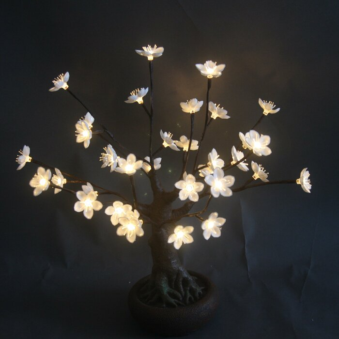 Bonsai Tree With Flower And 36 Led Lights