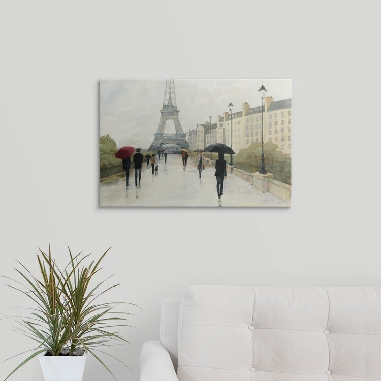 Eiffel in the Rain, Marsala Umbrella Wall Art, Canvas