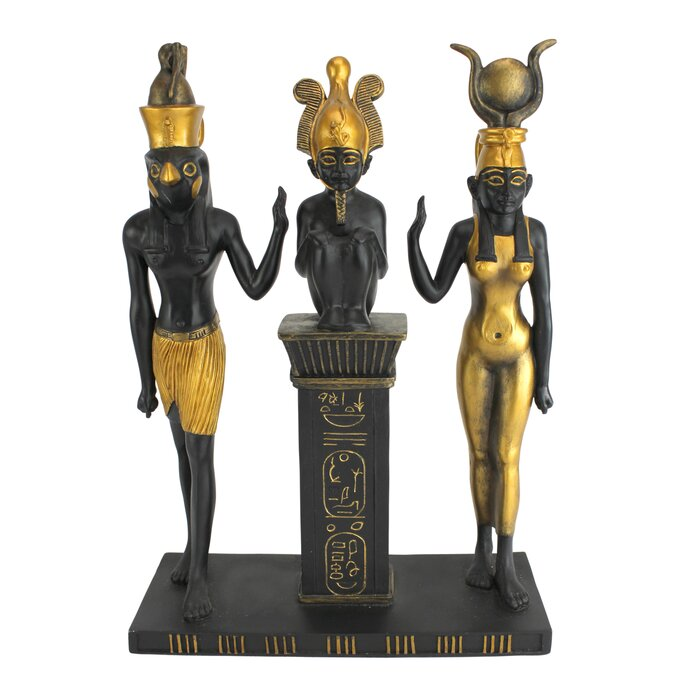 Osiris, Isis and Hours Egyptian Gods Statue