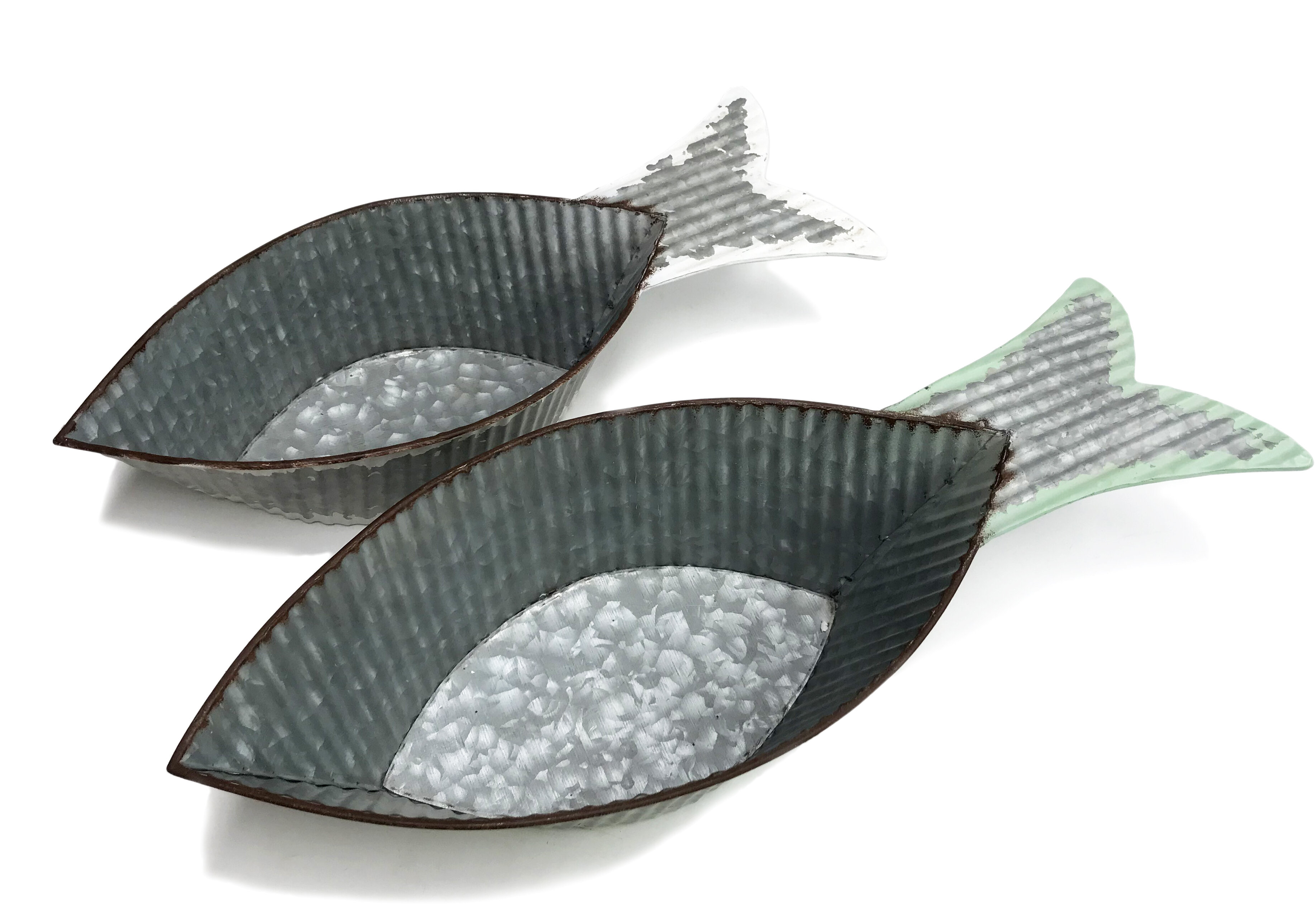 Highland Dunes 2 Piece Delton Fish Shaped Metal Decorative Bowl Set Wayfair