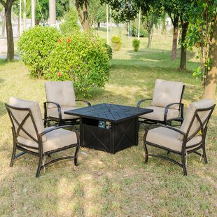 Darby Home Co Kemper 5 Piece Firepit Set with Cushions