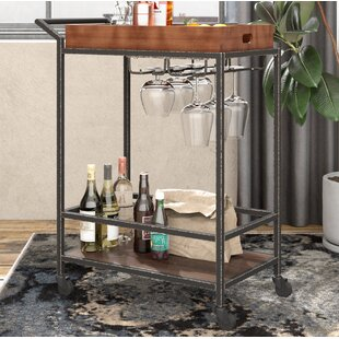 Williston Forge Jacqulyn 2 Tier Tube Bar Cart