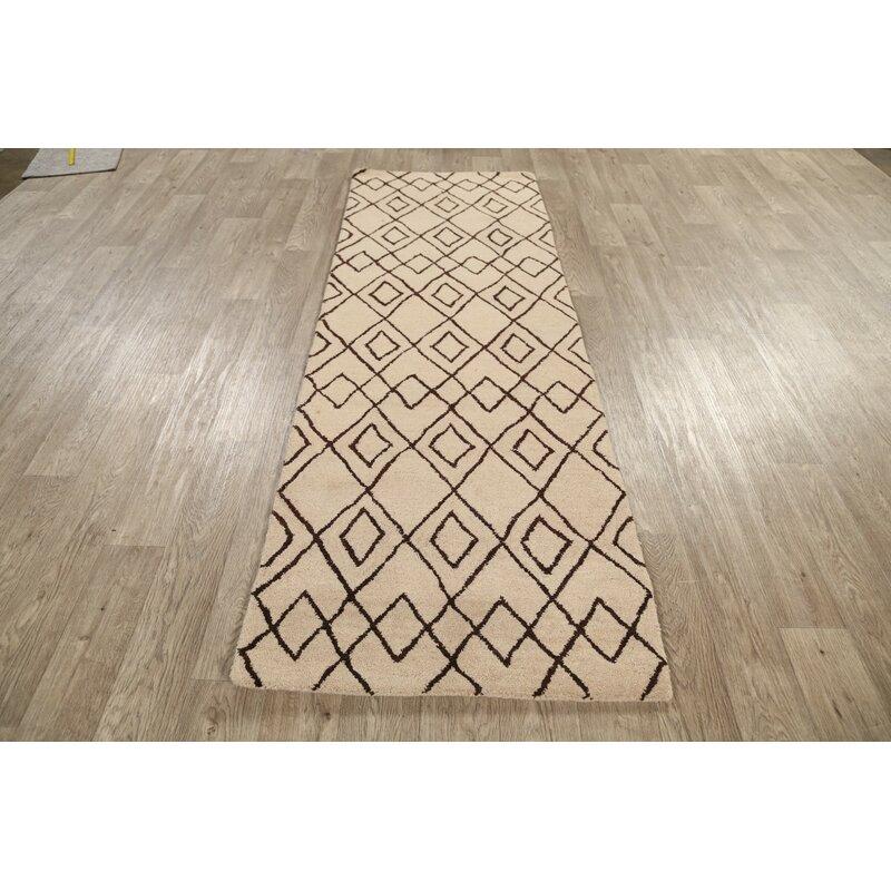 Rugsource Runner Geometric Handmade Tufted Wool Beige Area Rug Wayfair