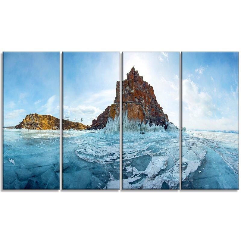 Designart Ice And Rocks Of Lake Baikal 4 Piece Photographic Print On Wrapped Canvas Set Wayfair Ca