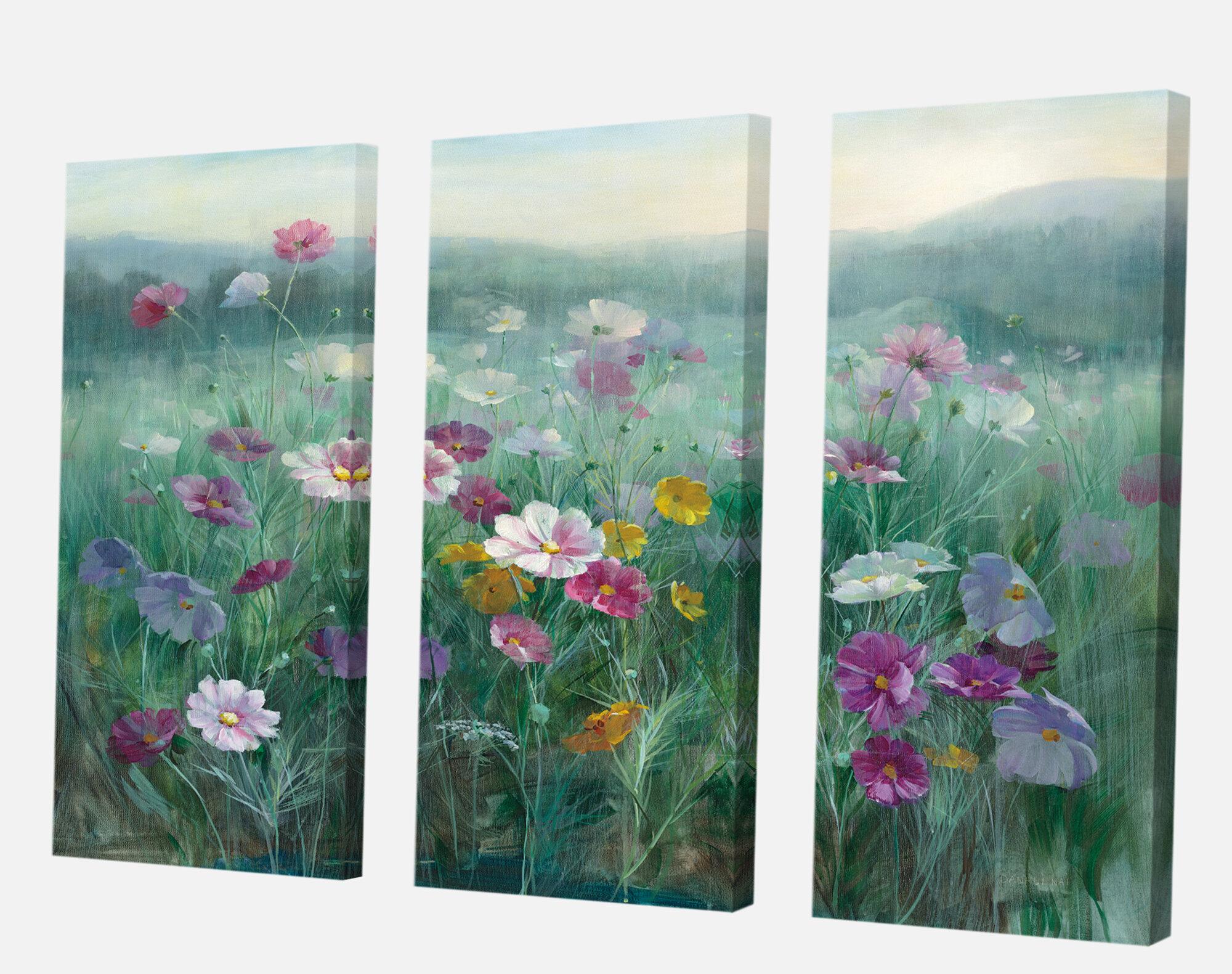 East Urban Home Farmhouse Premium Flower Field Painting Multi Piece Image On Canvas Wayfair