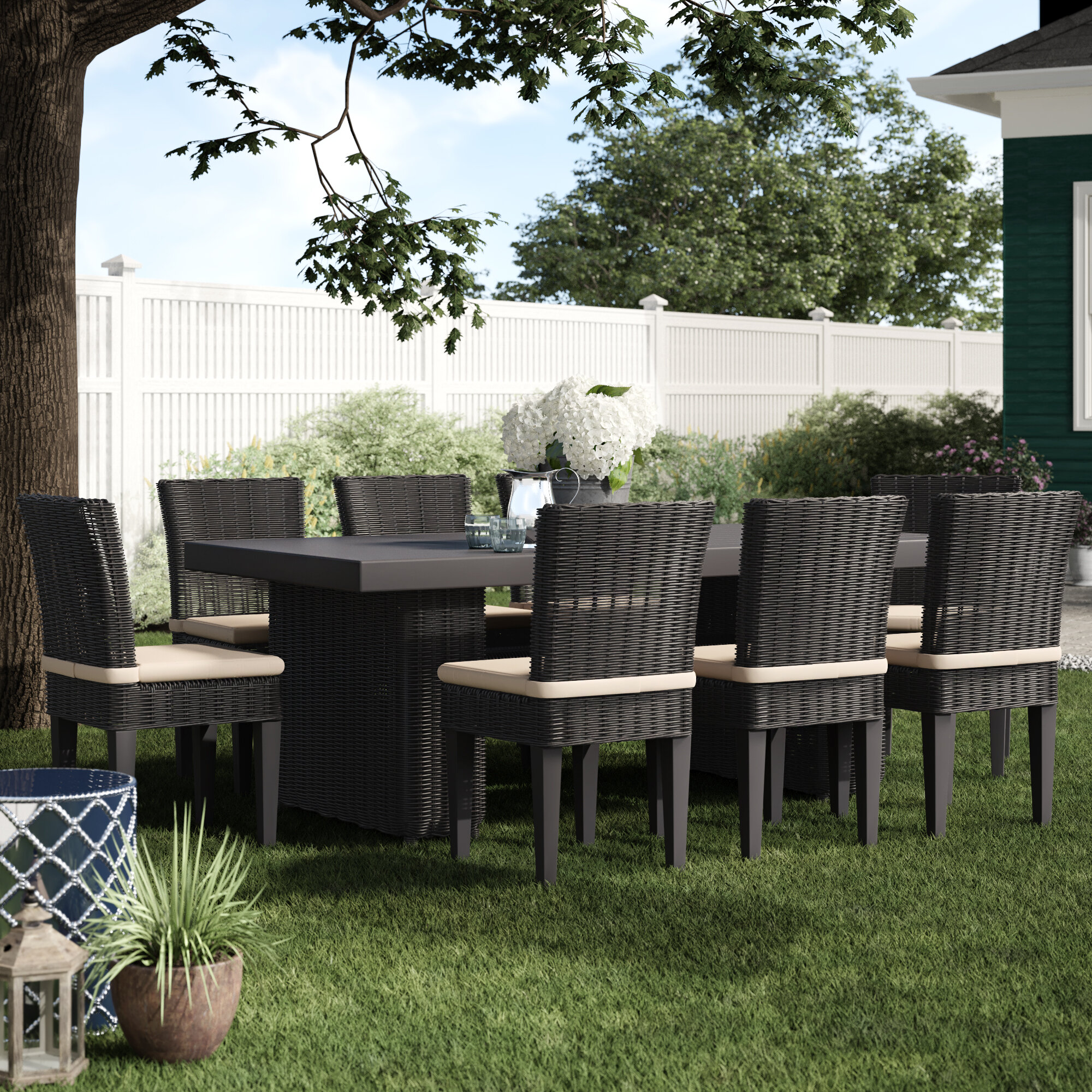 Olathe 9 Piece Outdoor Patio Dining Set Reviews Birch Lane