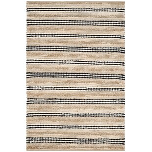 Coupon Arria Hand-Woven Natural/Black Area Rug ByHighland Dunes