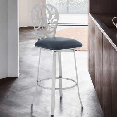 Super Cherie 26 Swivel Bar Stool Armen Living Upholstery Gray Squirreltailoven Fun Painted Chair Ideas Images Squirreltailovenorg