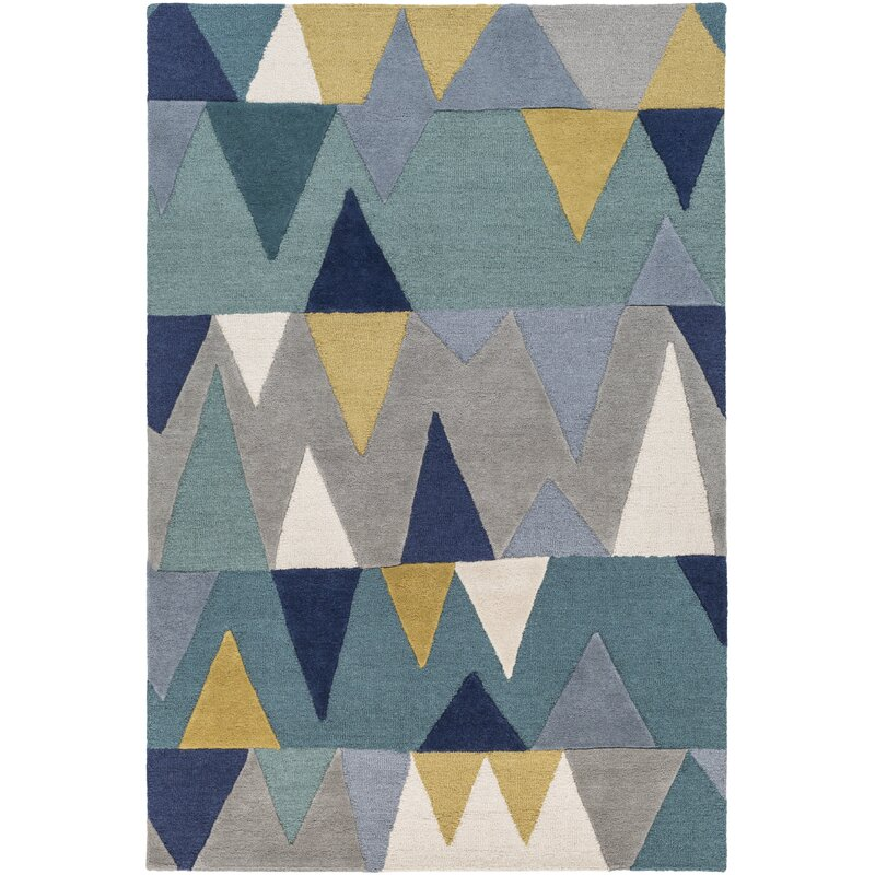 Nida Hand Tufted Wool Bright Blue Area Rug Allmodern