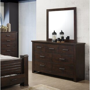 Compare prices Forst 7 Drawer Double Dresser with Mirror by Millwood Pines