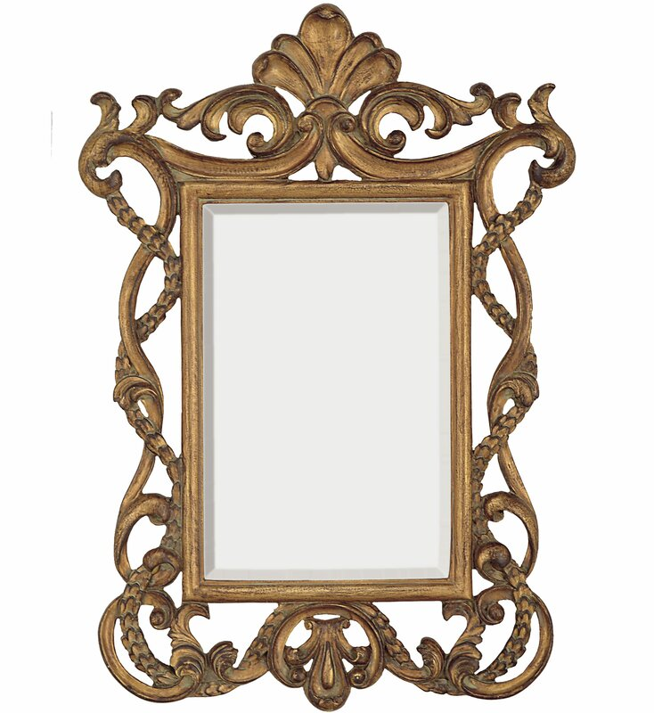 Elegant Traditional Rectangular Gold Beveled Glass Wall Mirror