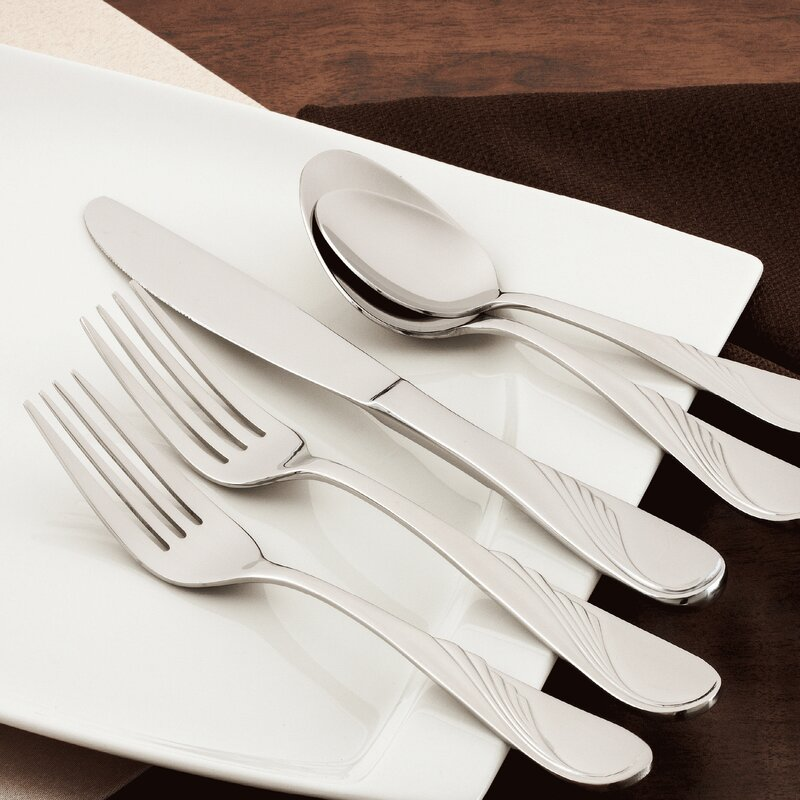 Mercer41 Knowle 40 Piece 18 10 Stainless Steel Flatware Set Service For 8 Wayfair