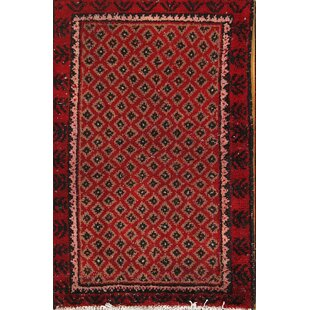 Find a One-of-a-Kind Axton Geometric Balouch Bokhara Vintage Persian Hand-Knotted 1'9 x 2'9 Wool Black/Burgundy/Beige Area Rug By Isabelline