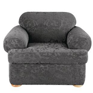 Stretch Jacquard Damask T-Cushion Armchair Slipcover