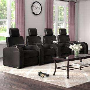 Power Recline Leather Row Seating (Row of 4) by Latitude Run